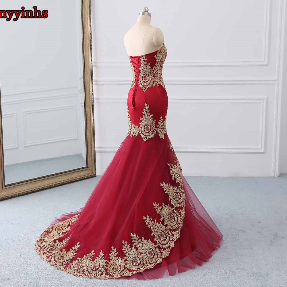 Yinyyinhs Robe de Soiree Longue Embroidery Real Kaftan Dubai Mermaid Evening Dresses Formal Evening Gowns China Vestido Longo