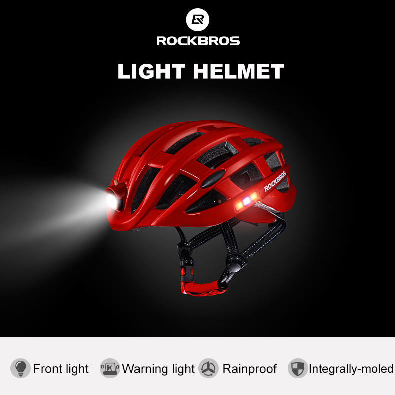 ROCKBROS Cycling Helmet with integrated front and side safety lights 13