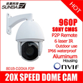 SUNBA 801B-D20XA P2P 1.3MP 960P HD 20Optical Zoom Sony CMOS 250m IR-CUT IP PTZ High Speed Dome Onvif Outdoor Security Camera