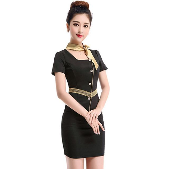 Frete grátis verão de trabalho Formal uniforme para as mulheres sólida senhora do escritório ternos saia uniformes de companhias aéreas trabalho veste Plus Size XXXL