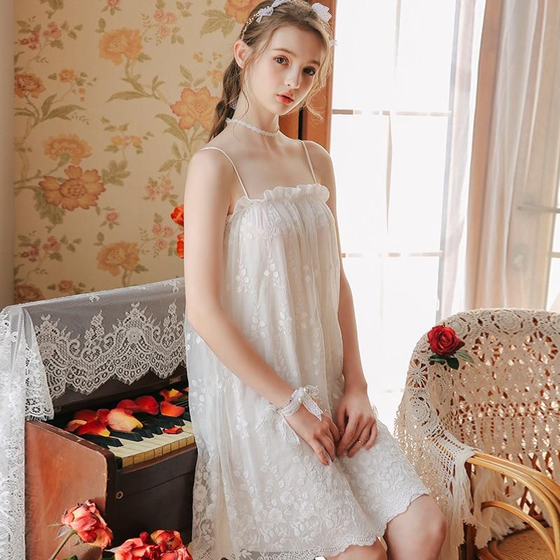 2019 Spring Summer Women Cotton Nightdress Sleeveless Female Sexy Lace Sleepwear Sweet Princess   Nightgowns     Sleepshirts