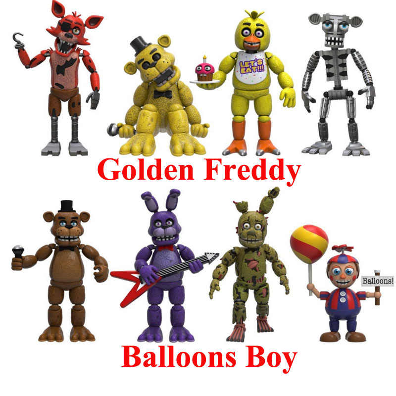 4pcs/Set Five Nights at Freddy's Golden Freddy And Balloons Boy Action Model Toy Collection Decoration Gift For Fun