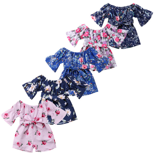 35d549f359b47 US $4.64 7% OFF|5 Color Floral Infant Baby children Girl Romper Jumpsuit  Outfit off shoulder Sunsuit Playsuit Clothes-in Rompers from Mother & Kids  on ...