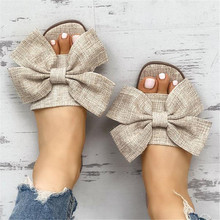 Women Summer Beach Slippers Breathable Big Bow Linen Flip Flops Female Casual Non Slip Slippers Sandals Floral Indoor Shoes animal prints home slippers summer women slippers linen indoor shoes non slip breathable slippers home female cool sandals