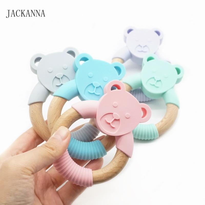 10 pièces Silicone bébé anneau de dentition ours anneau de dentition en bois hochet à croquer jouet dent soins infirmiers nouveau-né douche cadeau bébé jouets sensoriels