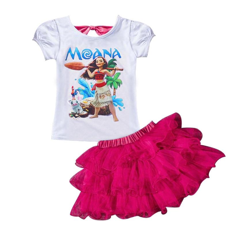 Print Dream Tropical Moana Dresses Infant Baby Girls Clothing Costume Children Party Kids Princess Dress