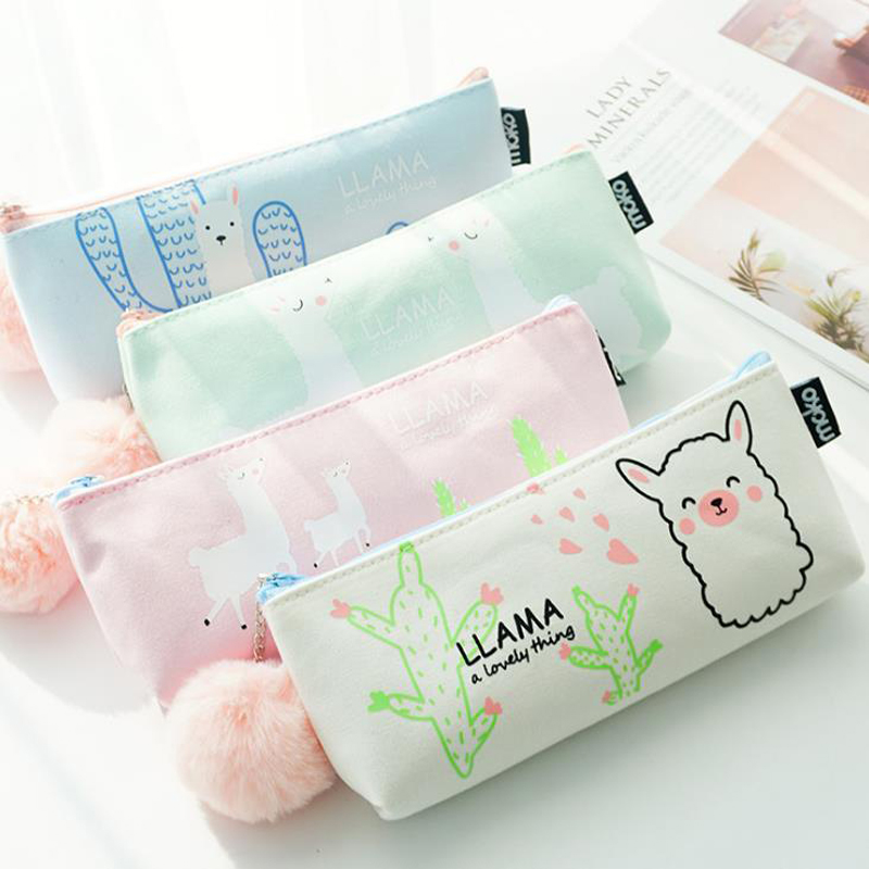 1 Pcs Kawaii Llama Alpaca Warm Ball Plush Canvas Pencil Case Storage Organizer Pencil Bags Stationery School Office Supply