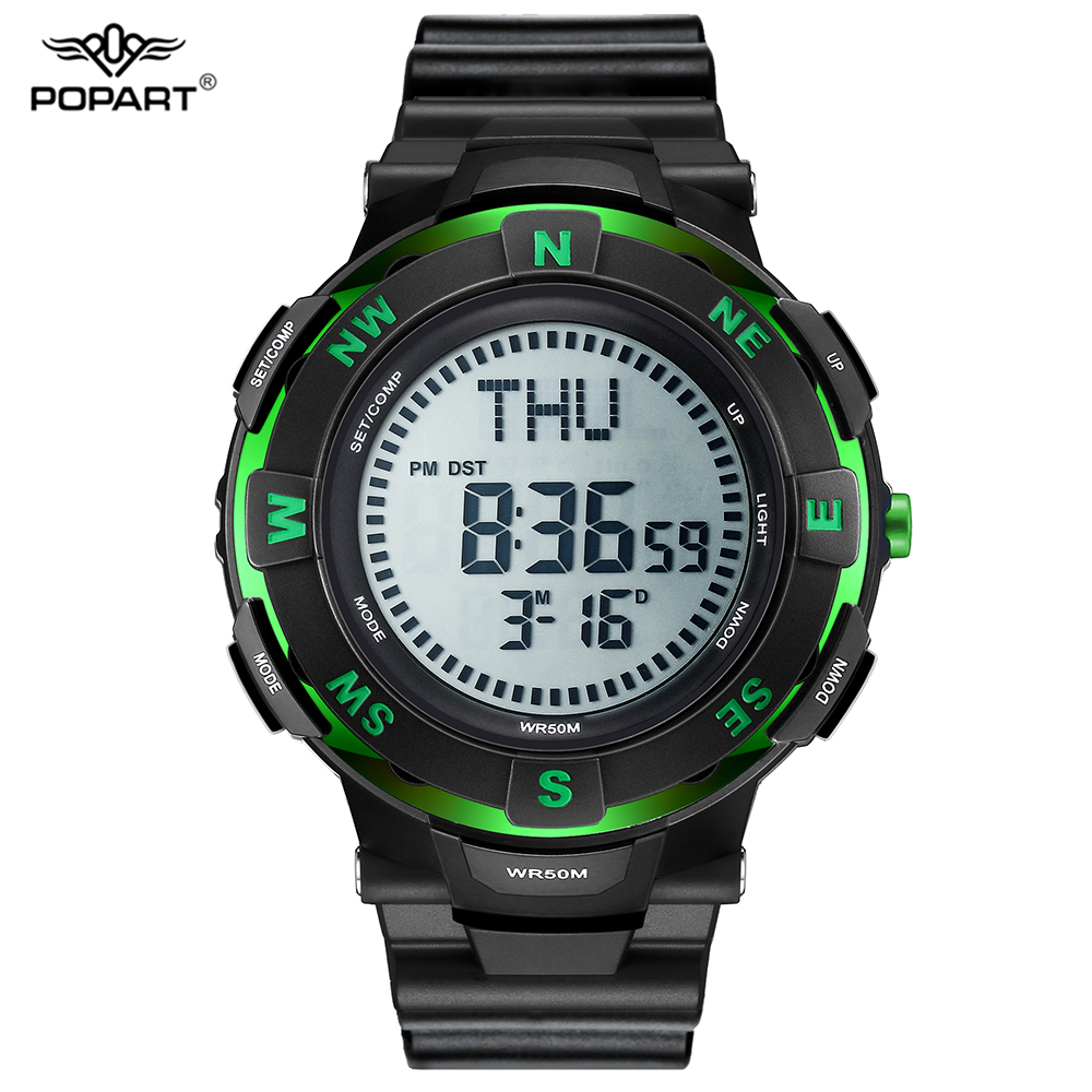 POPART Men Outdoor Sports Watches Compass Electronic LED Digital Watch Waterproof Wristwatches Relojes Clock Relogio Masculino