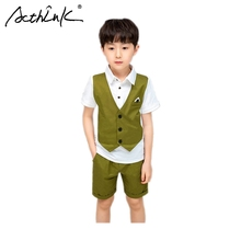 ActhInK 2019 Hot Sell England Style 2Pcs Boys Green Summer Suit Formal for Waistcoat+Shirt Combination Design