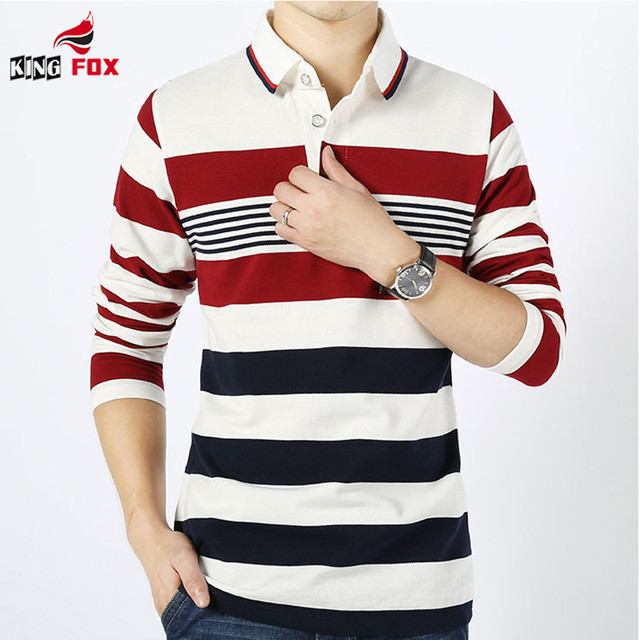 New spring autumn Men`s Strip long sleeve Polo Shirt Turn-down Collar Casual Cotton Polo Shirt slim fit Camisa tops size M~4XL