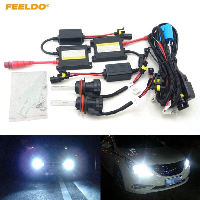 FEELDO Car Headlight 9004 9007 Xenon Bulb Hi/Lo Beam Bi-Xenon Bulb Light 35W DC 12V Slim Ballast HID Kit #FD-4477  car headlight hid xenon kit slim ballast 12v 35w dc h4 3 9004 3 9007 hi lo 9012 5012 h13 bi xenon hi lo