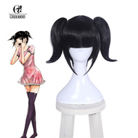 ROLECOS Japanese Anime Back Street Girls Cosplay Hair Chika Headwear Black Short Cosplay Synthetic Hair for Women