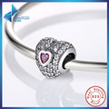 100% 925 Sterling Silver Dazzling Heart-Shaped Bracelet Fit Charme com Roxo Cubic Zirconia Jewelry Making