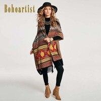 Bohoartist Femmes Cape 2018 Automne Gris Casual Géométrique Gland Up Coutume Folklorique Nouveau Dames De Mode Élégante Hiver Bohème Écharpe