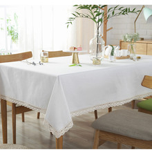 Solid Color Lace Tablecloth White Cotton Linen Dinner Table Cloth Restaurant Decoration Tablecover Manteles De Mesa Rectangular