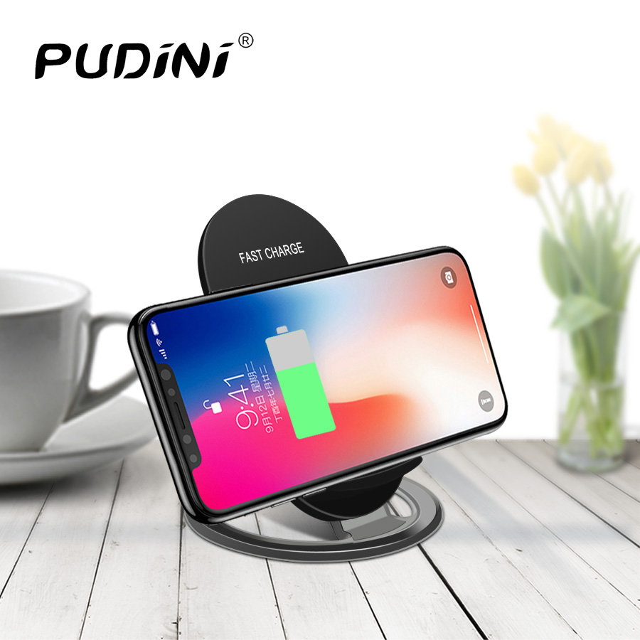 PUDINI Universal Qi Wireless Charger For iPhone X 8 Portable Fast Charging Holder Wireless Quick Charger Wireless Charging Pad
