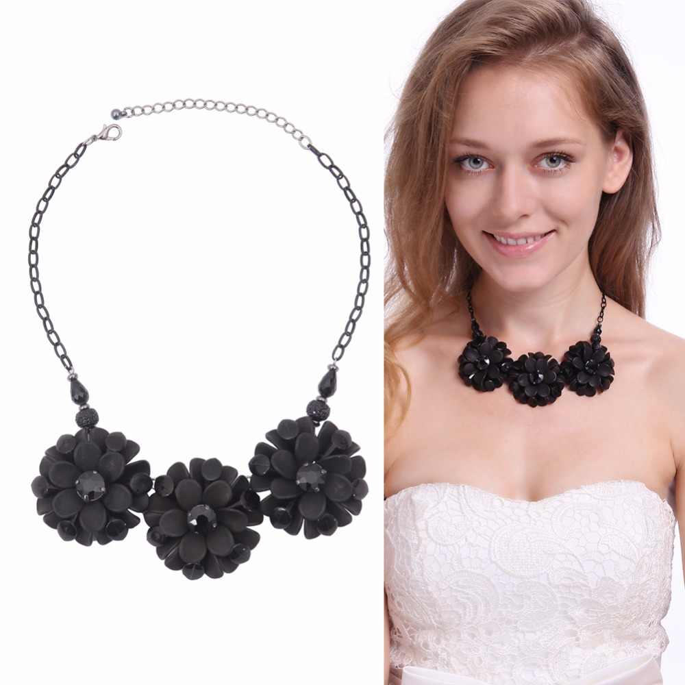 Fruit link 3 - 3 Black Plastic Flowers Pendants Necklaces Beads Fruit Link Chain For 2016 Women Fashion Jewelry Yy006