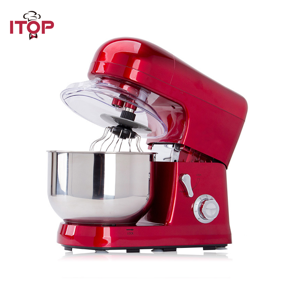 ITOP Heavy Duty Homeuse Commercial Blender 5L Food Mixer 6 Speeds Dough Mixer With Whisk Food