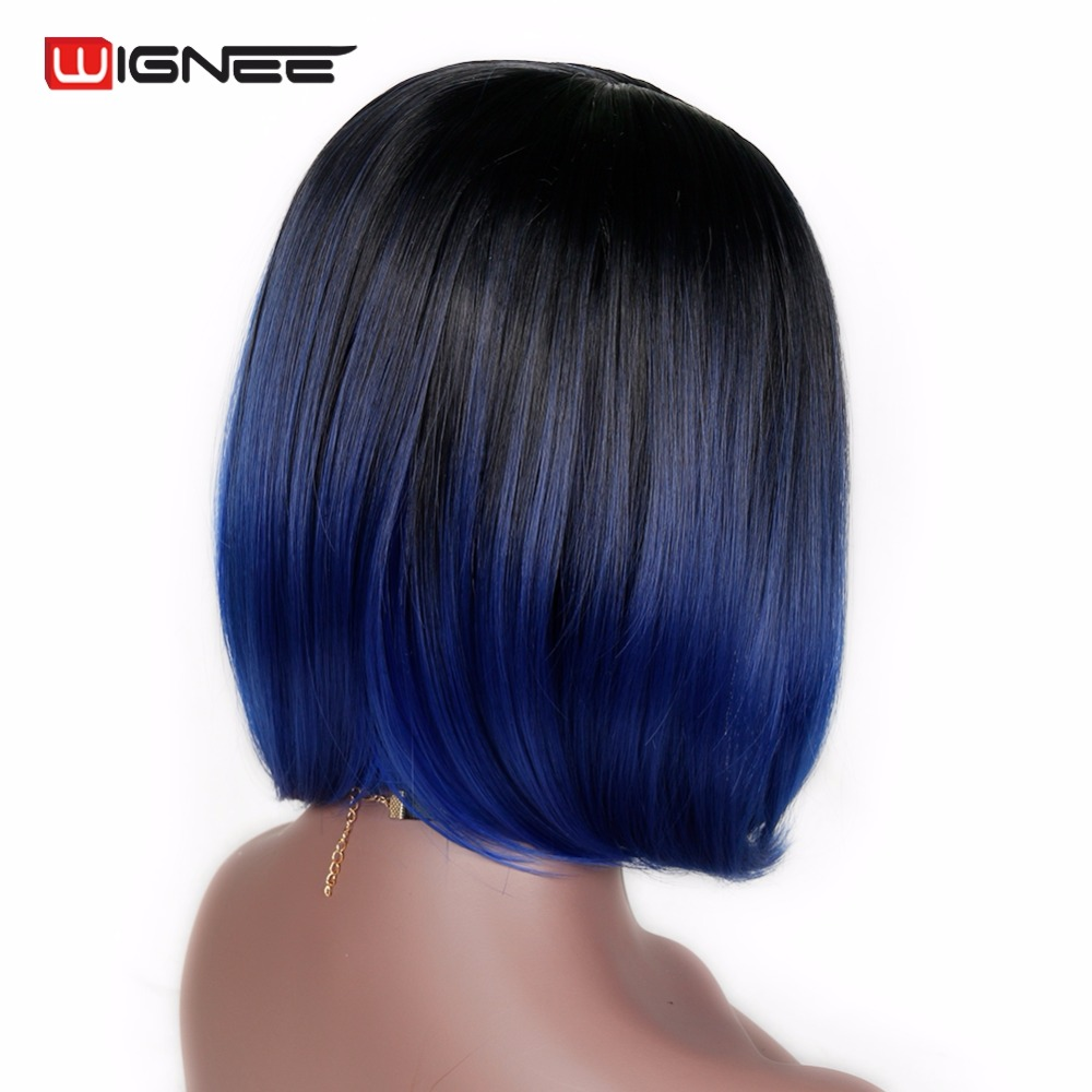 Wignee 2 Tone Ombre Blue Color Bob Hair Short Synthetic Wigs For Black Women High Density Heat Temperature Full Cosplay Hair Wig