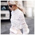 Autumn winter Elegant floral lace blouse shirt Women lantern sleeve blouse hollow out short top blouse blusas