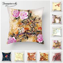 Fuwatacchi Rose Peony Flowers Cushion Cover Plum Blossom Grass Pillow Cases For Home Sofa Chair Decorations Birds Pillowcases