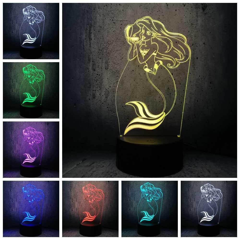 Scarponi da neve Principessa 3D LAMPADA HA CONDOTTO LA Luce di bellezza del regalo della ragazza Elsa lampada Sirena illuminazione Unicorno luce di notte camera dei bambini sonno scrivania lampadina