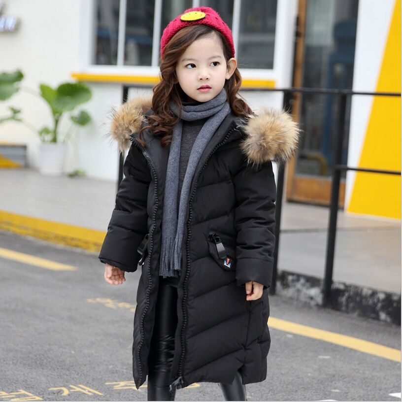 -35 Winter Children's Down Jacket For Girls Long Thick Warm Girls Children's Clothing 2017 New Fashion Big Fur Collar Down & Pa fashion children s long jacket fur collar padded jacket duck down baby boy girls winter thick warm new children s clothing 2 7t page 4