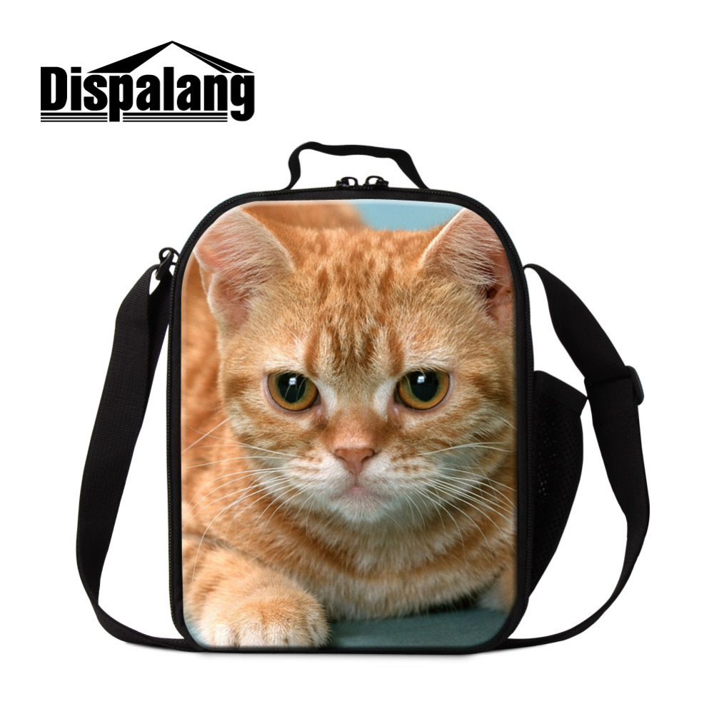 Dispalang Bolsa Termica Cute Animal Lunch Bags For Kids Cat Print Insulated Picnic Food Lunch Box Children School Food Bags