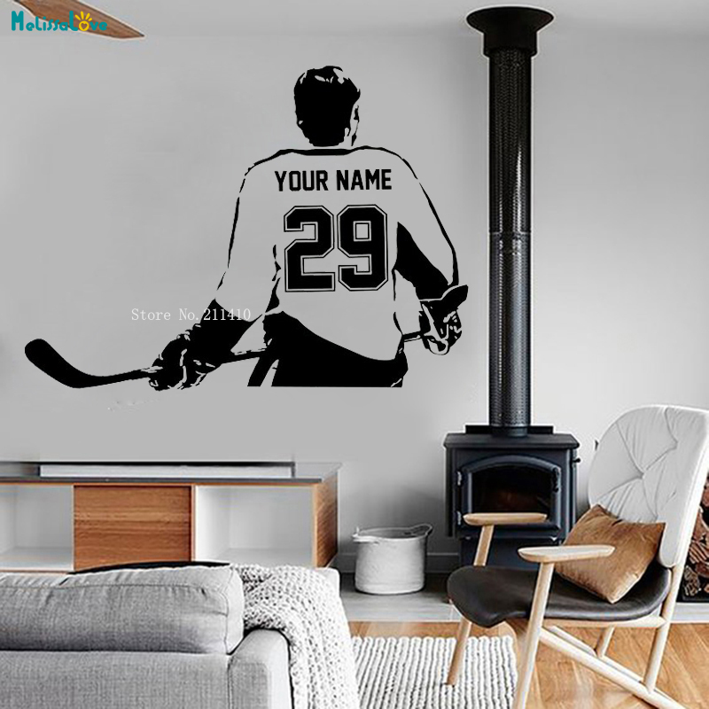 Sports Choose Your Name and Number Personalized Custom Hockey Player Wall Decal Vinyl Sticker Home Decoration Boy Gifts YT994
