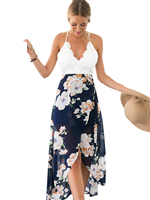 Backless Floral Print Chiffon Dress Patchwork Lace Embroidery V Neck Open Back High Low Slip Back