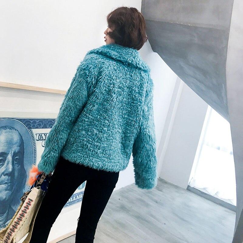 Ansfx Laine Poilu Shown En Longue Bleu Court Élégant Revers Shaggy As Agneau Faux Lâche Manteau Vestes De Femmes D'hiver Survêtement Bouclés Fourrure Fausse w8Irq8xp