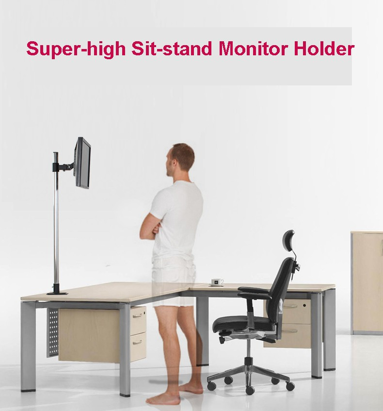 L139 Super-high Desktop Sit-Stand 17-27 inch Monitor Holder Stainless Steel TV Mount Stand Column Height 90cm Loading 10kgs