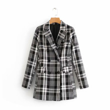 f0398a9102d28 NSZ Women White Black Plaid Blazer Dress Check Mini Jacket Long Sleeve