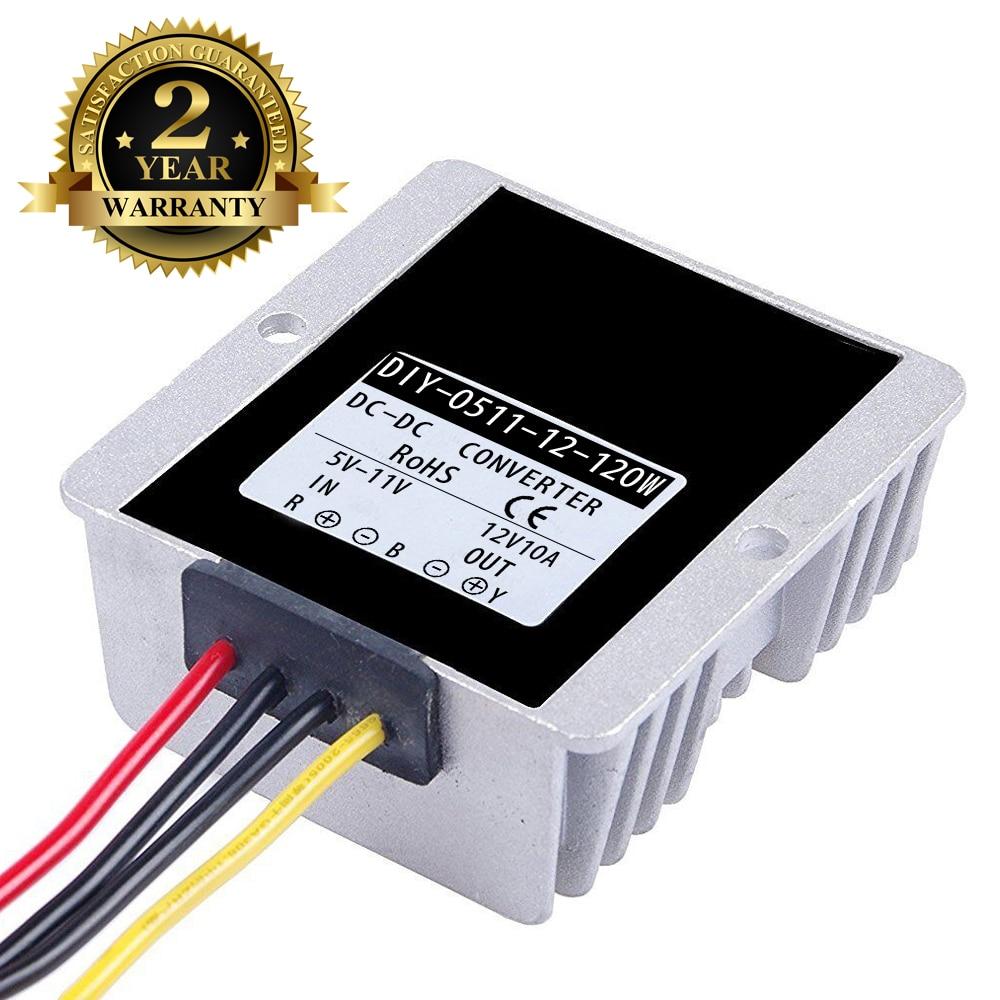Convertisseur cc 5V 6V 7V 8V 9V 10V 11V à 12V 10A 120W DC DC intensifier le Module d'alimentation imperméable à l'eau