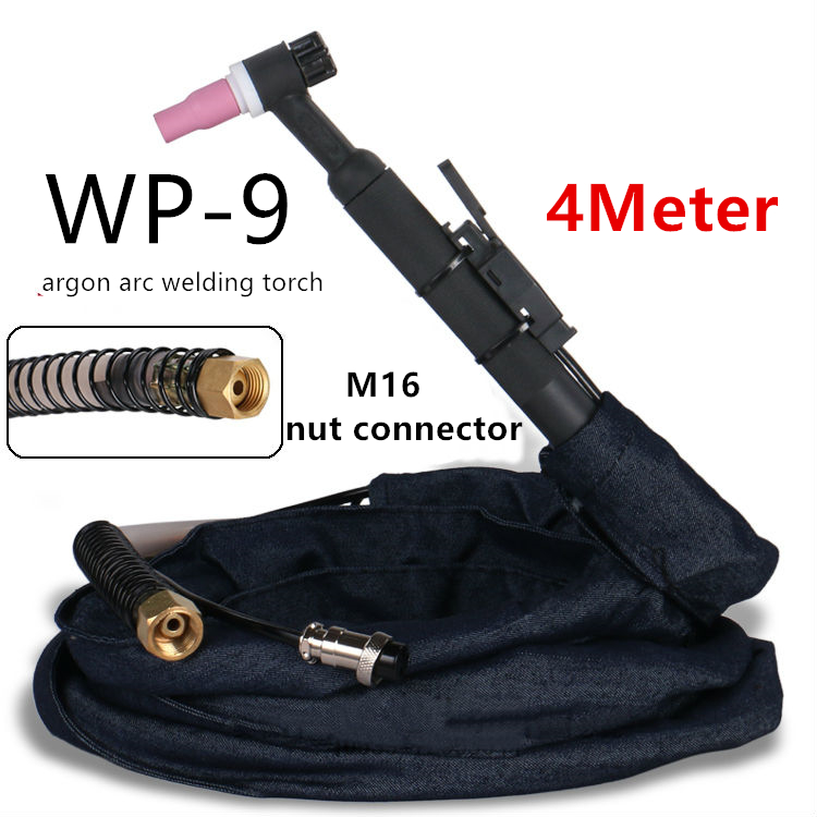 WP-9 air cooled argon arc welding torch 4meter M16 nut joint type braided tube silicone tube stainless steel welding wireWP-9 air cooled argon arc welding torch 4meter M16 nut joint type braided tube silicone tube stainless steel welding wire