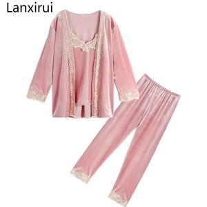 Image 2 - Spring 3 three piece Set Sexy Bathrobe Women  lace Flannel Pajamas Set Nightgown Set Sleepwear Pajamas Feminino Pyjama suits