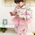 Nuevo Otoño Niños ropa de La Muchacha del Estilo de Lolita de Algodón estilo largo Tendencia de Tul estampado Floral Ruffles cuenca abrigos abrigos 3-9 años