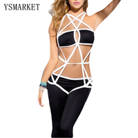2017 Hot Newest Erotic Lingerie Sexy Straps Bandage Jumpsuit Hollow Out Backless Black Night Club Costume