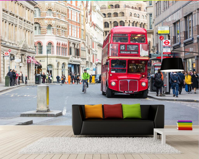 Custom 3D Photo Wallpaper Home Decor Wall Painting London Street View Red Bus Mural Living