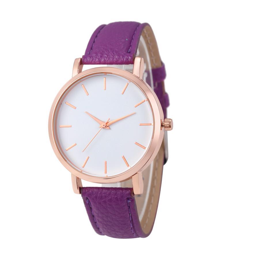 2018 Fashion simple Women Leather Strap watches Casual Analog Quartz Watches Business Elegant Round Shape Wristwatch