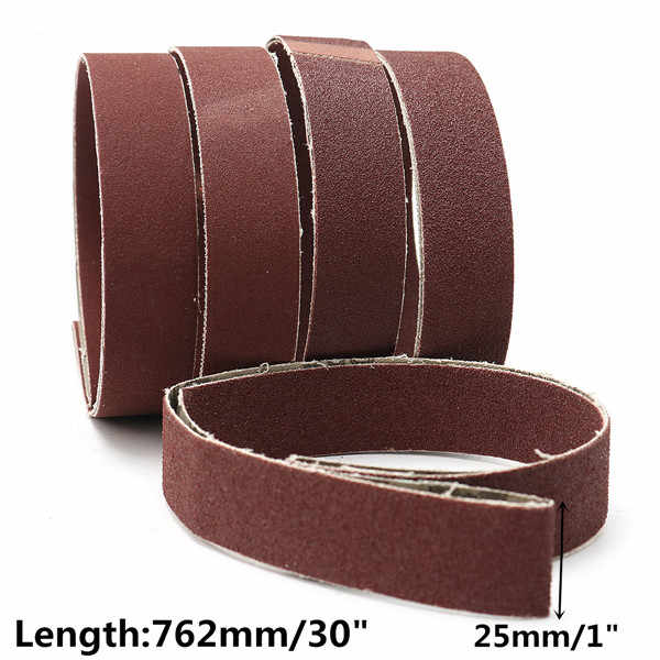 """5 uds cinturones de lijado 80/100/150/240/320 papel de lija de gravilla 1 """"x 30"""" herramienta eléctrica de óxido de aluminio Kit de discos de lija de cinturones"""