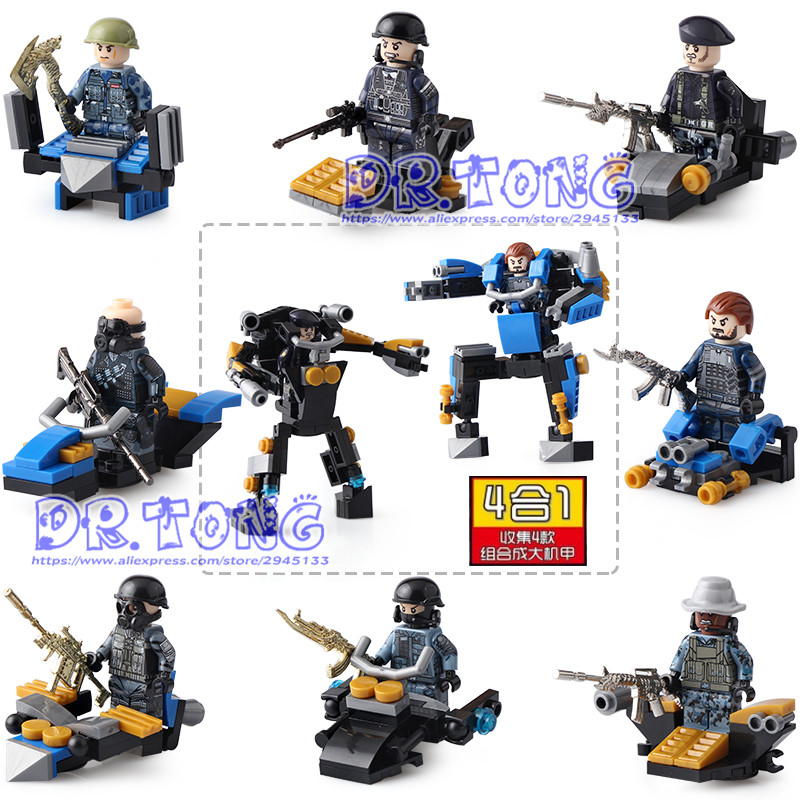 DR TONG 80PCS/LOT DLP9052 Soldier MILITARY Weapon Army Navy Seals Team Marine Building Blocks Figures Bricks Toy Children Gifts dr tong 20pcs lot pg1049 super hero