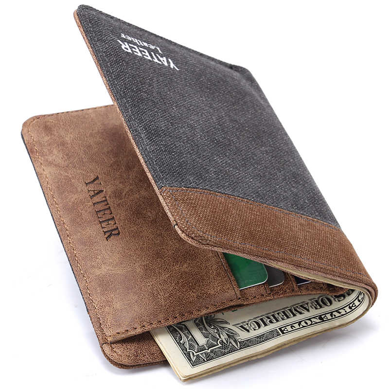 c79675ed93c2 Men Wallet Leather Genuine Long Clutch Male Fashion Retro Style Brown Gray  Canvas Mezzanine Card Holder Men Wallet Coin Purse