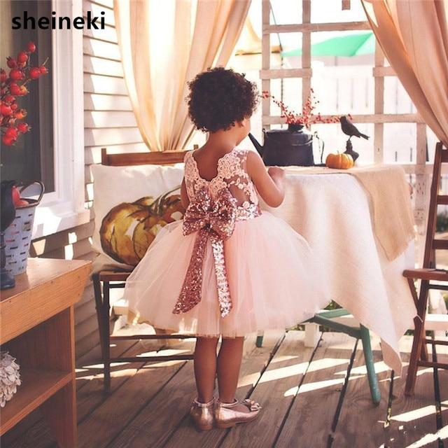 2019 הגעה חדשה חמוד ורוד לבן פרח בנות שמלות תחרת אפליקציות טול נפוח ילדות קטנות כדור שמלות למסיבת חתונה