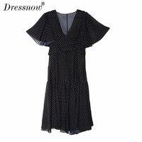 Высокое качество модная линия черный летнее платье до середины икры лепесток рукав Империя одежда Sexy V шеи Краткое шифоновое платье