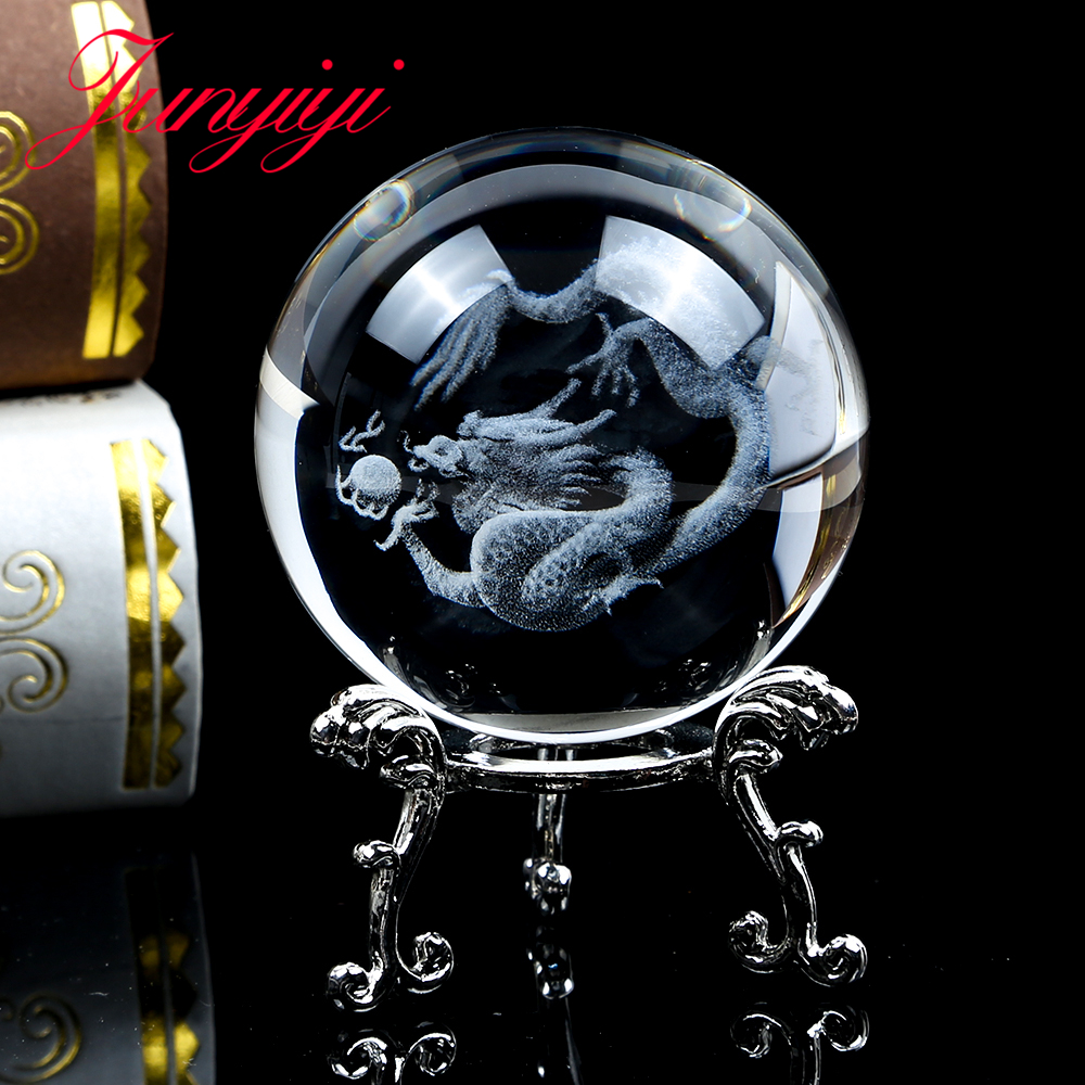 Fengshui Dragon Model Crystal Ball 3D Laser Engraved Glass Quartz Decoration Ball Home Decor Accessories Ornament Gift 80mm