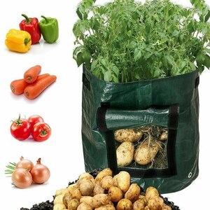 Image 2 - حقيبة حاويات لزراعة البطاطس والبطاطس من قماش البولي ايثيلين ، حقيبة لزراعة الخضروات والبستنة ، jardineria ، وعاء للحديقة ، حقيبة لزراعة النباتات