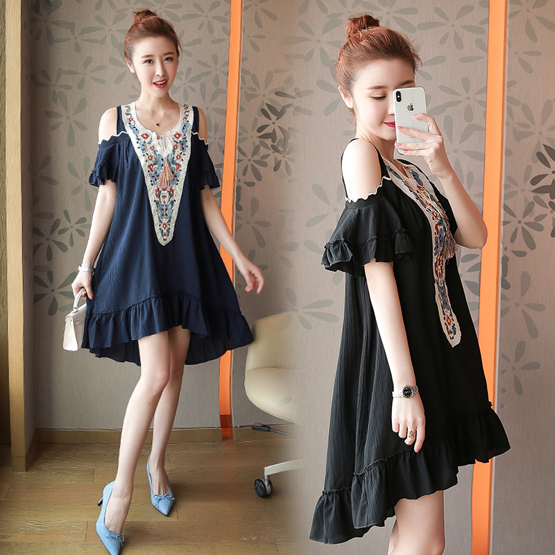 a1e6895c9a 2018Summer style Fashion Ladies Off shoulder Dress female plus size  asymmetrical embroidery flare dress casual vestido XL-XXXXXL