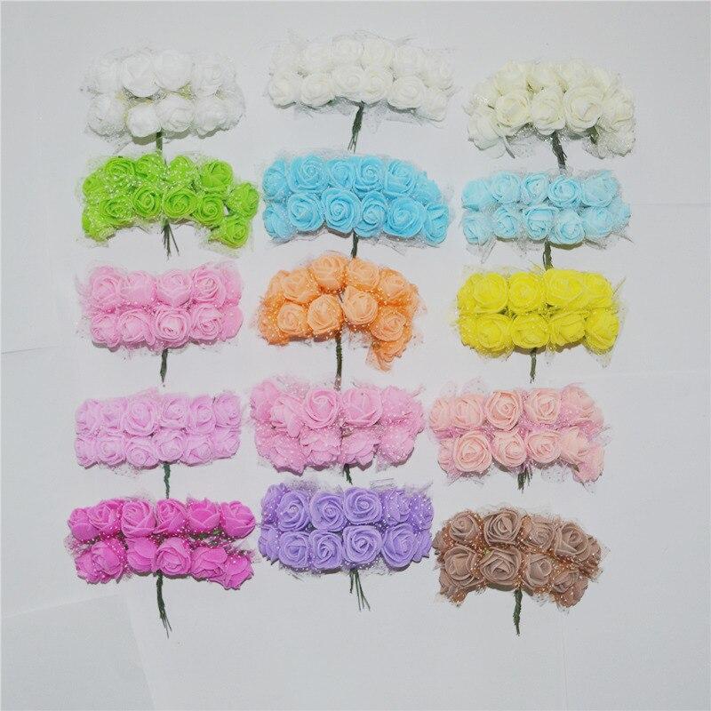 2CM 144pcs Multicolor PE Rose Foam Mini Artificial Silk Flowers Bouquet Solid Color Wedding Decorative Flowers Wreaths Gift 6Z