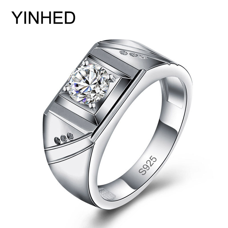 yinhed brand male engagement jewelry rings real 925 sterling silver ring simulated cz diamant wedding rings - Male Wedding Ring
